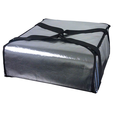 "Silver Insulated Pizza Delivery Bag 18""L x 18""W x 9""H"