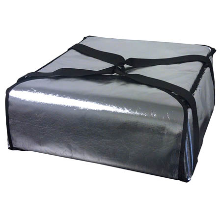 "Silver Insulated Pizza Delivery Bag 22""L x 22""W x 9""H"