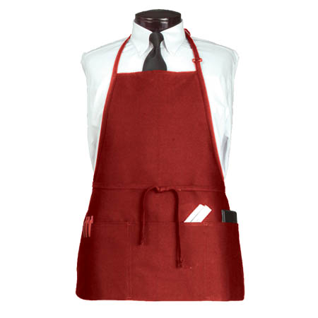 Ritz 3-Pocket Full Length Red Bib Apron