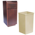 25-Gallon Mahogany Finish Trash Container Enclosure with Tray Bin and Trash Can