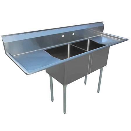 "Sauber 2-Compartment Stainless Steel Sink with Two 18"" Drainboards 68""L"