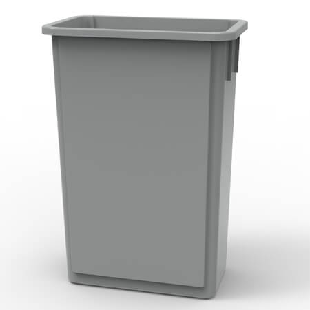 23-Gallon Gray Wall Hugger Trash Container