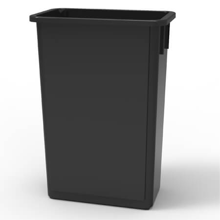23-Gallon Black Wall Hugger Trash Container