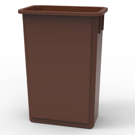 23-Gallon Brown Wall Hugger Trash Container