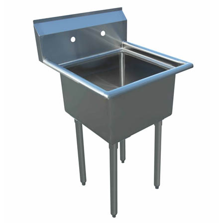 "Sauber 1-Compartment Stainless Steel Sink without Drainboards 21""L"