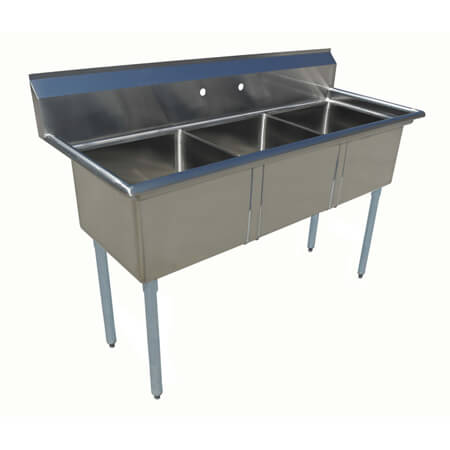 "Sauber 3-Compartment Stainless Steel Sink without Drainboards 59""L"