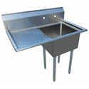 "Sauber 1-Compartment Stainless Steel Sink with 18"" Drainboard on Left 36-1/2""L"