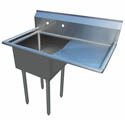 Sauber 1-Compartment Stainless Steel Sink with 18\x22 Drainboard on Right 36-1/2\x22L