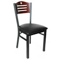 Black Metal Frame Bistro Chair with Mahogany Wood Back and Black Vinyl Seat