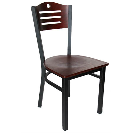 Black Metal Frame Bistro Chair with Mahogany Wood Back and Seat