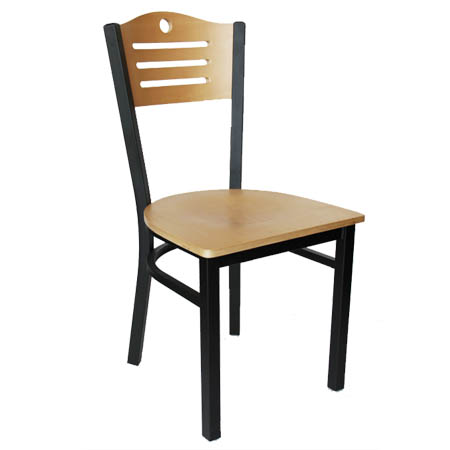 Black Metal Frame Bistro Chair with Natural Wood Back and Seat