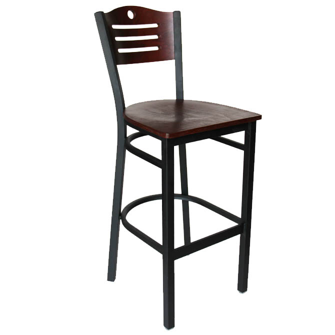 Black Metal Frame Bar Stool with Mahogany Wood Back and Seat : KX0088Kl from www.equippers.com size 670 x 670 jpeg 52kB