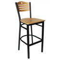 Black Metal Frame Bistro Bar Stool with Natural Wood Back and Seat