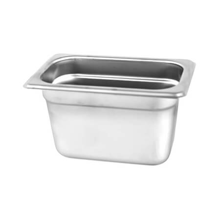 "1/9-Size Anti-Jam Standard Weight Stainless Steel Food Pan 4"" Deep"