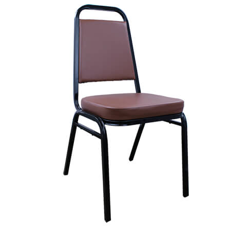"Modesto Black Metal Square Back Stack Chair with 2"" Brown Vinyl Seat"