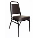 Black Metal Square Back Stack Chair with 2\x22 Brown Vinyl Seat