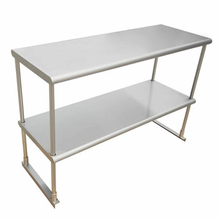 "Sauber Stainless Steel Double Tier Overshelf for Sauber Worktables 12"" x 48"" x 42"""