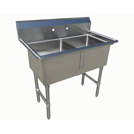 "Sauber Select 2-Compartment Stainless Steel Sink without Drainboards 39""L"