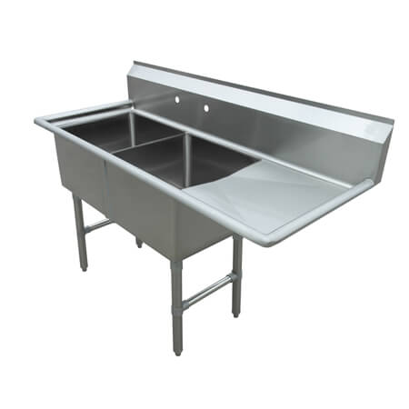 "Sauber Select 2-Compartment Stainless Steel Sink with Right Drainboard 54-1/2""L"