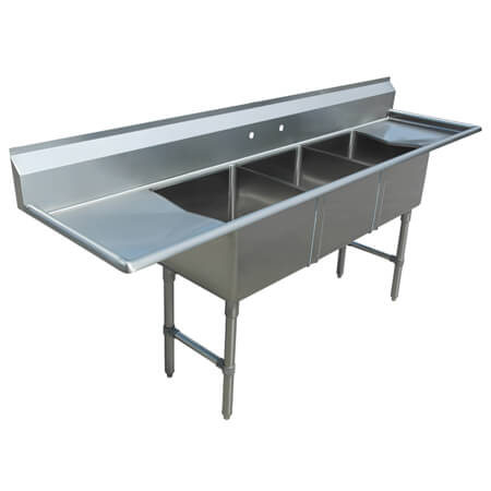 "Sauber Select 3-Compartment Stainless Steel Sink with Left & Right Drainboards 87""L"