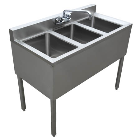 "Sauber 3-Compartment Stainless Steel Bar Sink with Overflow Tubes 38-1/2""W x 18-3/4""D"