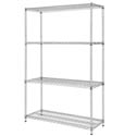 Sureshelf Silver Zinc-Coated Wire Shelving Kit 18\x22 x 48\x22