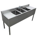"Sauber 3-Compartment Stainless Steel Bar Sink with Two 13"" Drainboards and Overflow Tubes 60""W x 18-3/4""D"