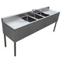 Sauber 3-Compartment Stainless Steel Bar Sink with Two 19\x22 Drainboards and Overflow Tubes  72\x22W x 18-3/4\x22D