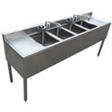 "Sauber 4-Compartment Stainless Steel Bar Sink with Two 13"" Drainboards and Overflow Tubes 72""W x 18-3/4""D"