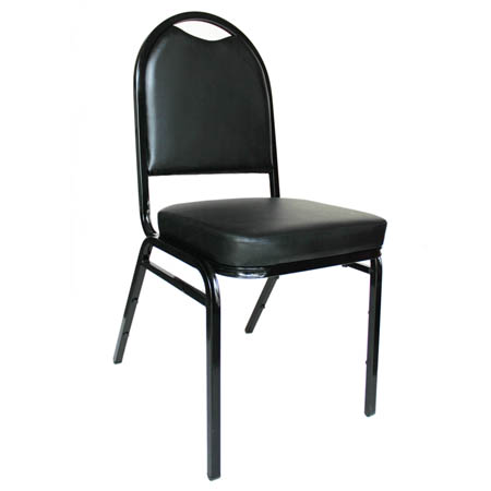 "Black Metal Round Back Stack Chair with 2"" Black Vinyl Seat"