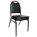 Black Metal Round Back Stack Chair with 2\x22 Black Vinyl Seat
