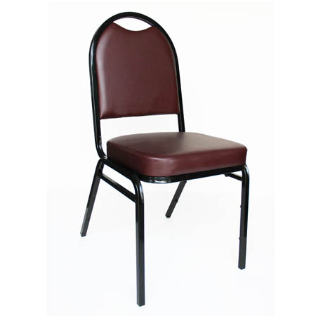 "Black Metal Round Back Stack Chair with 2"" Burgundy Vinyl Seat"