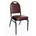 Black Metal Round Back Stack Chair with 2\x22 Burgundy Vinyl Seat