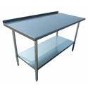 "Sauber Stainless Steel Work Table with 2"" Backsplash 36""W x 24""D x 36""H"