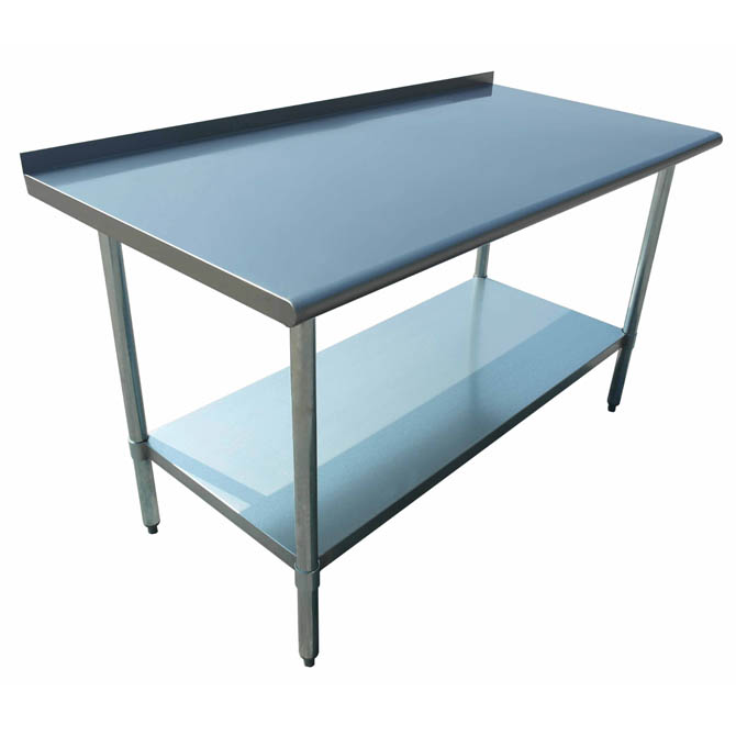 sauber stainless steel work table with 2 backsplash 72w x