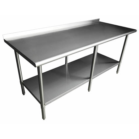 "Sauber Stainless Steel Work Table with 2"" Backsplash 96""W x 24""D x 36""H"