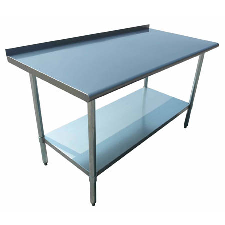 "Sauber Stainless Steel Work Table with 2"" Backsplash 36""W x 30""D x 36""H"