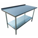 "Sauber Stainless Steel Work Table with 2"" Backsplash 72""W x 30""D x 36""H"