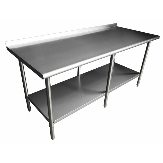 sauber stainless steel work table with 2 backsplash 96w x