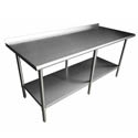 Sauber Stainless Steel Work Table with 2\x22 Backsplash 96\x22W x 30\x22D x 36\x22H