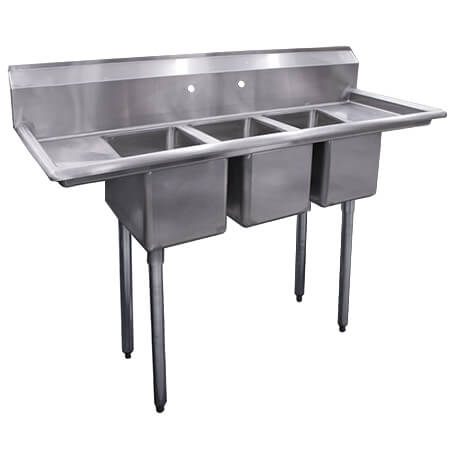 "Sauber 3-Compartment Stainless Steel Sink with Two 10"" Drainboards 54""L"