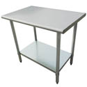 "Sauber All Stainless Steel Work Table with Adjustable Undershelf 30""W x 24""D x 36""H"