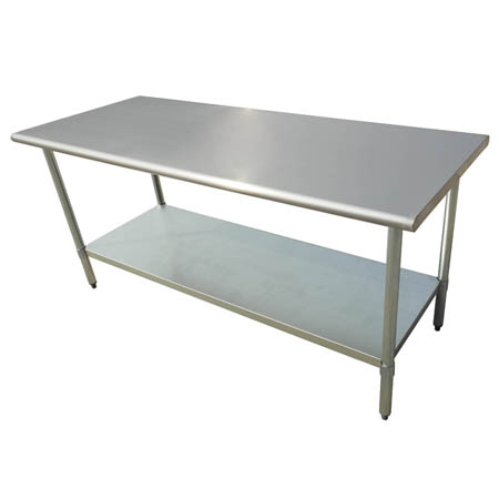 "Sauber All Stainless Steel Work Table with Adjustable Undershelf 72""W x 24""D x 36""H"