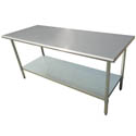 "Sauber All Stainless Steel Work Table with Adjustable Undershelf 72""W x 30""D x 36""H"