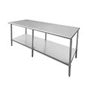 "Sauber All Stainless Steel Work Table with Adjustable Undershelf 96""W x 30""D x 36""H"