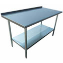 "Sauber Stainless Steel Work Table with 2"" Backsplash 48""W x 30""D x 36""H"