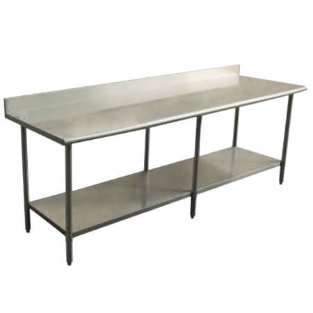 "Sauber Select All Stainless Steel Work Table with 4"" Backsplash and Undershelf 24""L x 96""W x 36""H"