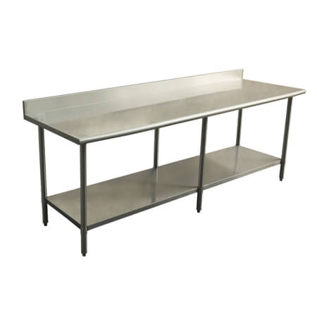 "Sauber Select Heavy Duty All Stainless Steel  Work Table with 4"" Backsplash and Undershelf 30"" x 96"" x 36""H"