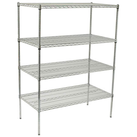 "Winco Chrome-Plated Wire Shelving Kit 24"" x 72"""