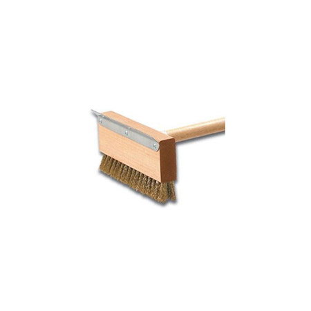 "10-1/2"" Pizza Oven Brush with Metal Scraper & Brass Bristles"